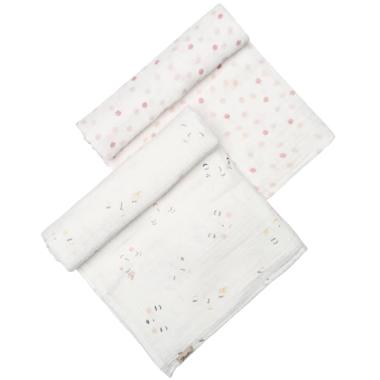 Petit Pehr Peek-A-Boo Sleepy & Hatched Dots Girl Swaddle Set