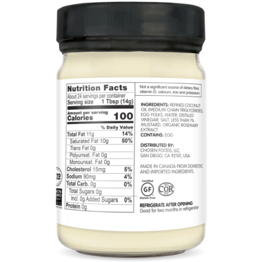 Chosen Foods Classic Keto Mayo with MCT Oil