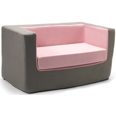 Monte Design Cubino Loveseat Charcoal & Pink