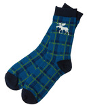 Hatley Little Blue House Men's Crew Socks Moose Plaid