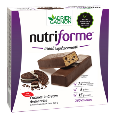 Adrien Gagnon Nutriforme Meal Replacement Bars Cookies N\'Cream Avalanche