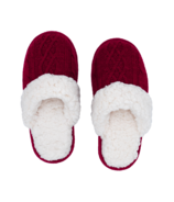 Pudus Slide Slippers Cable Knit Raspberry