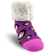 Pudus Classic Slipper Sock Penguin Purple Kids