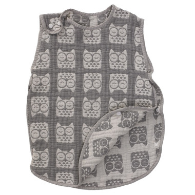 Living Textiles Muslin Reversible Sleeping Bag Grey Owl