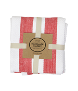 Harman Industrial Stripe Basketweave Tea Towels Red and White