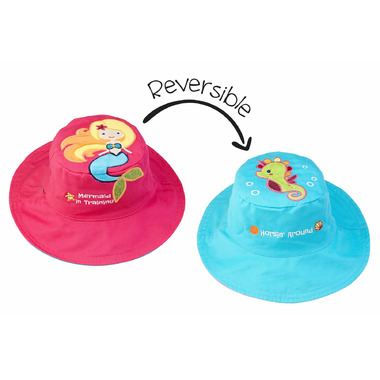 Flapjack Kids Reversible Sun Hat Mermaid & Seahorse