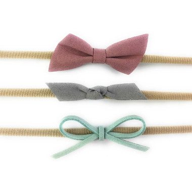 Baby Wisp 3 Mixed Faux Suede HeadBand Set Dusty Rose, Grey and Mint