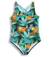 BIRDZ Children & Co. Women's Onepiece Swimsuit Black Jungle