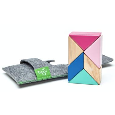 Tegu Pocket Pouch Prism Magnetic Wooden Block Set Blossom
