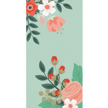 Elise Modern Floral 3 Ply Guest Towel Mint
