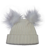 Calikids Cashmere Touch Infant Hat with Pom Poms Cream