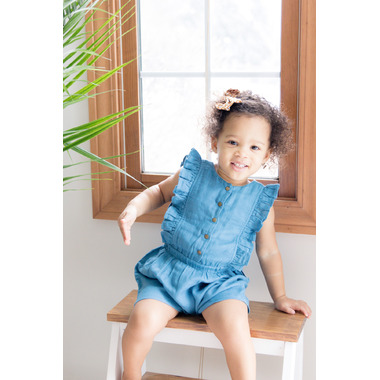 L\'ovedbaby Organic Kids\' Muslin Ruffle Bodysuit Pacific