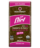 zazubean Flirt Organic Raspberry and Cherry 70% Dark Chocolate Bar