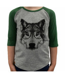 L&P Apparel 3/4 Sleeve Shirt Heather Grey & Green Wolf