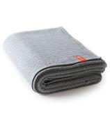 Halfmoon Plush Cotton Yoga Blanket Charcoal Herringbone