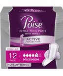 Poise Active Collection Incontinence Pads with Wings Maximum Absorbency