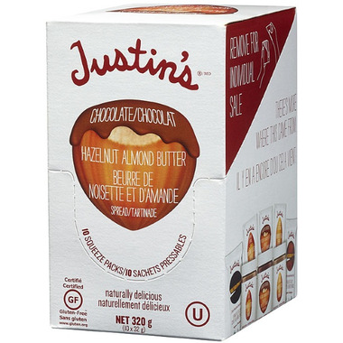 Justin\'s Chocolate Hazelnut Almond Butter Squeeze Packs