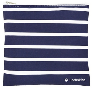 Lunchskins Navy Stripe Medium Zippered Bag