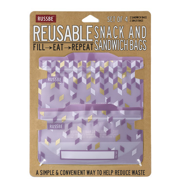 Russbe Reusable Snack and Sandwich Bags Metallic Confetti