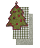 Harman 3 Piece Holiday Kitchen Set: Tea Towels and Pot Holder Tree