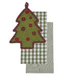 Harman 3 Piece Holiday Kitchen Set: Tea Towels and Pot Holder Tree