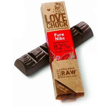 LoveChock Cacao Nibs Raw Organic Dark Chocolate Bar