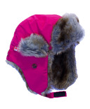 Calikids Water Repellant Nylon Shell & Faux Fur Hat Hot Pink