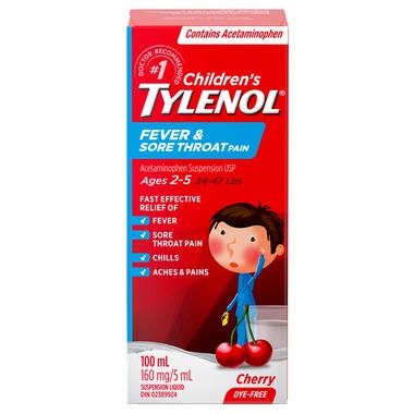 Tylenol Children\'s Fever & Sore Throat Pain Suspension Liquid