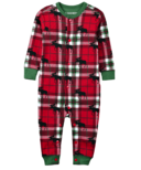 Hatley Little Blue House Infant Union Suit Holiday Moose on Plaid
