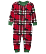 Little Blue House Infant Union Suit Holiday Moose on Plaid