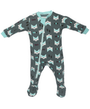 ZippyJamz Footed Organic Cotton Sleeper Quiet Fox Green