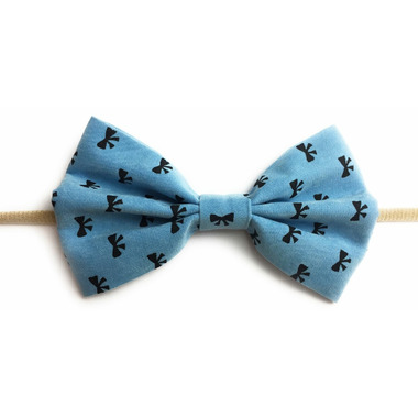 Baby Wisp Headband Fan out Bow Print Blue
