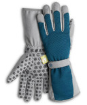 Dig It Apparel High 5 Utility Garden Glove with Extended Cuff Blue and Grey