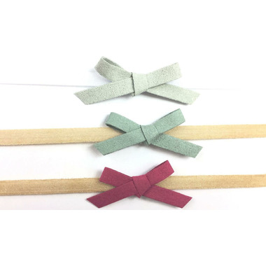 Baby Wisp Headband Hand Tied Faux Suede Bows Giftset Grey Pink & Fuschia
