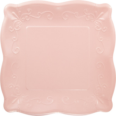 Elise Embossed Square Banquet Plate Pink