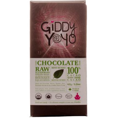 Giddy Yoyo Raw Organic Chocolate Bar Mint Hundo