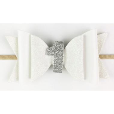 Baby Wisp First Birthday Headband White Glitter