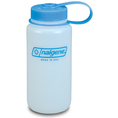 Nalgene 16 Ounce HDPE Wide Mouth Bottle White with Blue Cap