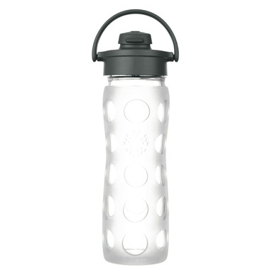 Lifefactory Glass Bottle Black Flip Cap & Clear Silicone Sleeve