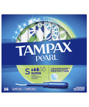 Tampax Pearl Pearl Tampons Super Absorbency with LeakGuard Braid Unscented