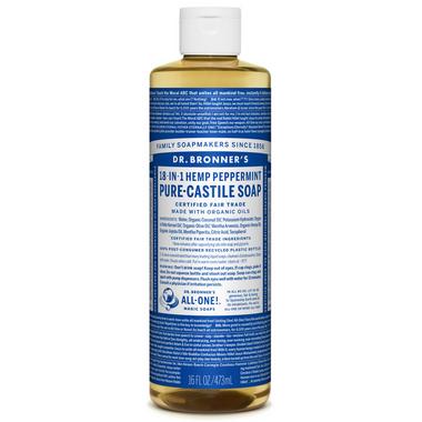 Dr. Bronner\'s Organic Pure Castile Liquid Soap Peppermint 16 Oz
