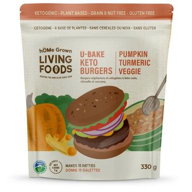 hOMe Grown Living Keto U-Bake Veggie Burgers Pumpkin Tumeric