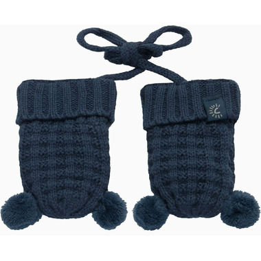 Calikids 100% Cotton Knit Mitts with Pom Poms Evening Navy
