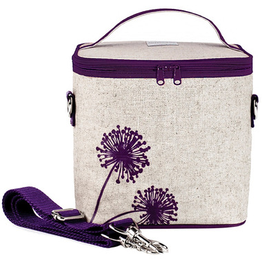 SoYoung Raw Linen Purple Dandelion Large Cooler Bag