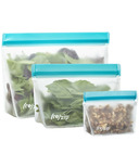 (re)zip Stand-Up 8oz Reusable Snack Bags Set Aqua