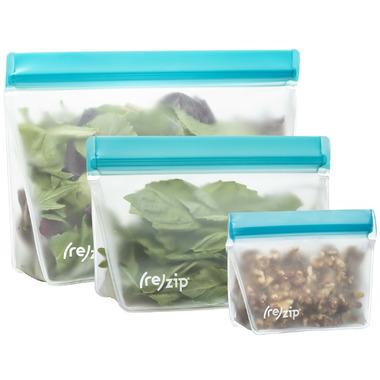 (re)zip Stand-Up 8oz Reusable Snack Bags Set Aqua