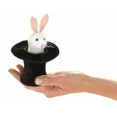 Folkmanis Mini Rabbit in Hat Finger Puppet