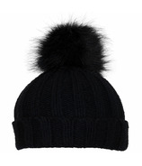 Calikids Cashmere Touch Hat with Pom Pom Black