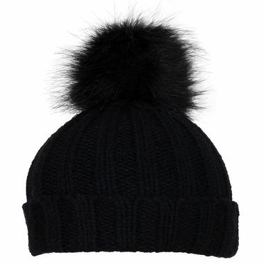Calikids Cashmere Touch Hat with Pom Pom Black