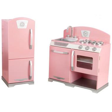 KidKraft Retro Kitchen & Refrigerator Pink
